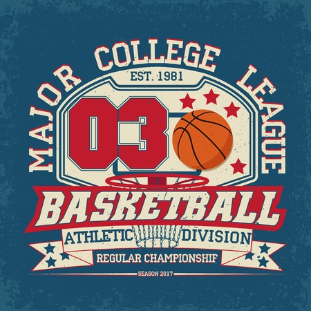 Vintage t-shirt graphic design,  grange print stamp, basketball typography emblem, sports logo Creative design, Vector  イラスト・ベクター素材