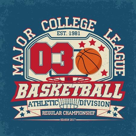 Vintage t-shirt grafisch ontwerp, grange druk zegel, basketbal typografie embleem, sporten embleem Creatief ontwerp, Vector Stockfoto - 65430316
