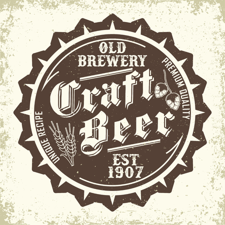 Vintage t-shirt graphic design,  grange print stamp, Craft beer typography emblem, Brewery logo Creative design, Vector