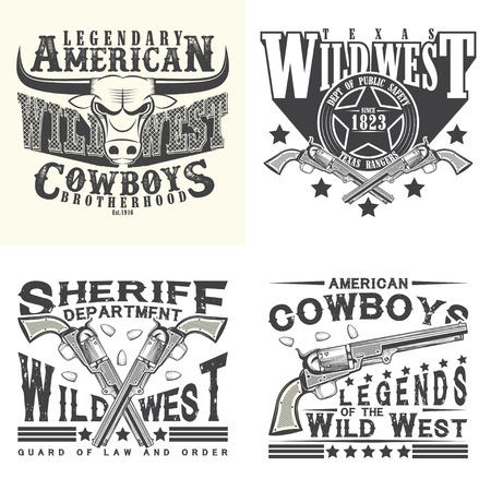 Set of Vintage typography, Wild West t-shirt graphics,  apparel stamps, tee print designs, vintage cowboy and sheriff and rangers emblems,