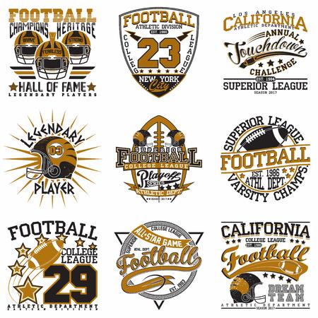 Set of Grunge Sport t-shirt graphic designs Ilustracja