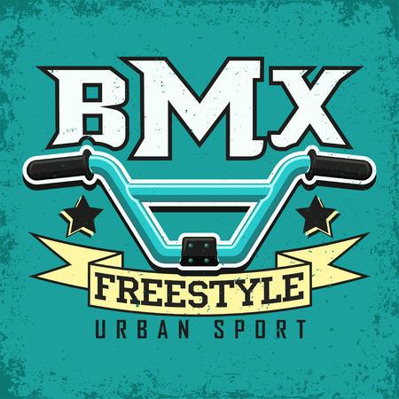 빈티지 티셔츠 그래픽 디자인, 그레인 인쇄 스탬프, BMX 인쇄술의 상징, BMX 프리 스타일 스포츠 로고 크리 에이 티브 디자인, 벡터