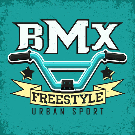 Vintage t-shirt graphic design,  grange print stamp, bmx typography emblem,  bmx freestyle sports logo Creative design, Vector Stock Illustratie