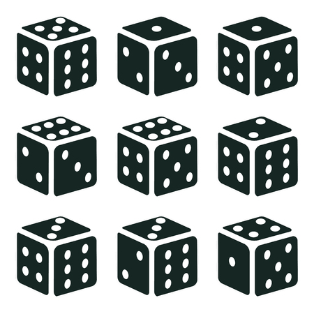 Set of  Dices in different turns, Isometric monochrome cubes with white pips on white background, vector