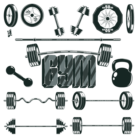 composing: Fitness icon set with barbell and ez-bar curl, dumbbell and composing dumbbell, kettlebell and pancakes, monochrome style on white background, vector Illustration