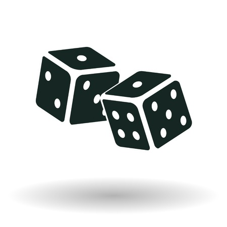 Dice icon, Isometric monochrome cubes with white pips on white background, vector Vectores