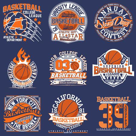 빈티지 티셔츠 그래픽 디자인, 크리 에이 티브 인쇄 우표, 농구 타이 포 그래피 엠블럼, 스포츠 로고, 벡터 세트