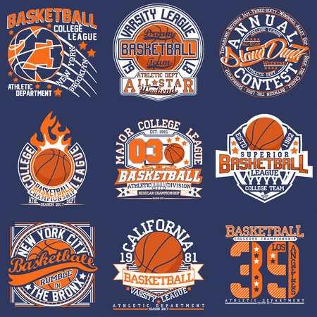Set of Vintage t-shirt graphic designs,  Creative print stamps, basketball typography emblems, sports logos, Vector