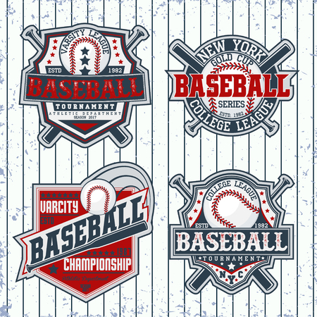 major league: Set of Vintage t-shirt graphic designs,  Creative print stamps, baseball typography emblems, sports logos, Vector