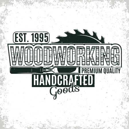 Archiwalne drewna projektowanie logo, folwark Stempel druku, oszczędny stolarskie typografii godło, Wektor