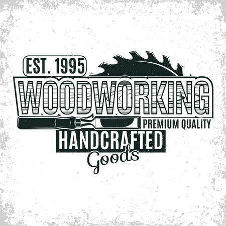 Vintage Holzbearbeitung Logo-Design, grange Druck Stempel, kreative Zimmerei Typographie Emblem, Vektor