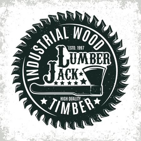 빈티지 목공 로고 디자인, 그랜지 인쇄 스탬프, 크리 에이 티브 목공 타이 포 그래피 엠블럼, 벡터