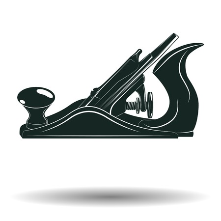 Monochromatyczny dźwigarki samolotu znak lub ikona, element dla woodworking emblemata lub loga odizolowywających na białym tle, wektor