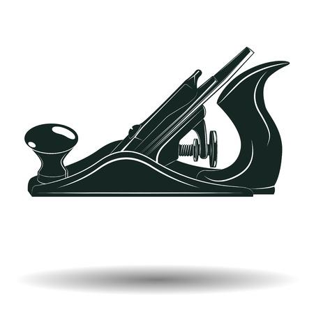 Monochrome jack avión signo o icono, elemento para trabajar la madera emblema o logotipo, aislado sobre fondo blanco, vector