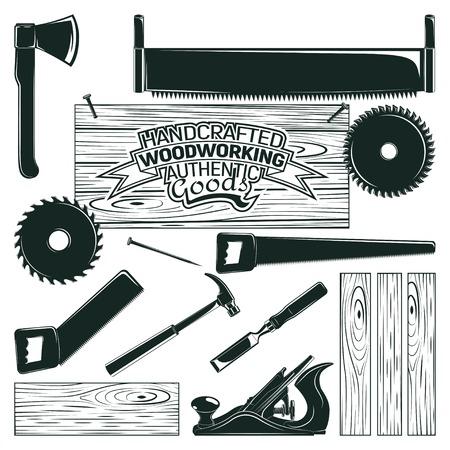 빈티지 로고 디자인, 목공, 제재소 및 목공 및 등심 요소 집합 흰색 배경에 고립 된 흑백 아이콘 벡터