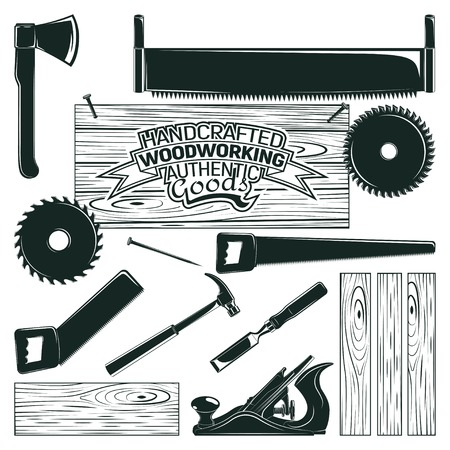 Set of woodworking, sawmill and carpentry and lumberjack elements for vintage logo design, monochrome icons isolated on white background, vector