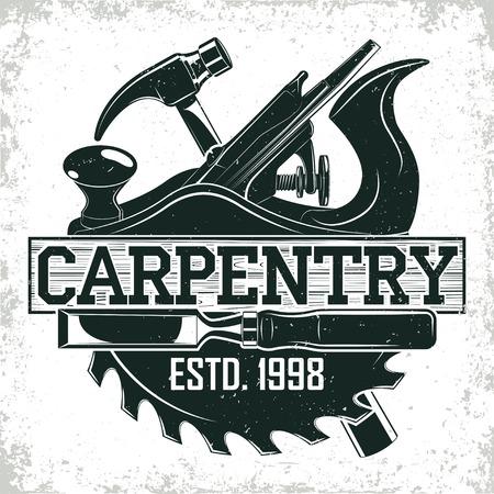 Design de logotipo para madeira vintage, selo de impressão grange, emblema de tipografia criativa de carpintaria, vetor