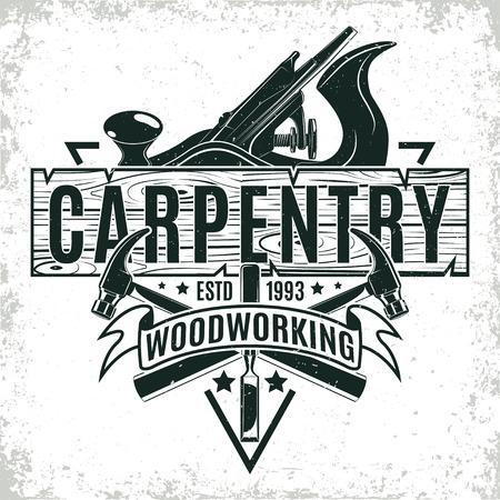 Vintage houtbewerking logo ontwerp, grange drukzegel, creatieve timmerwerk typografie embleem, Vector