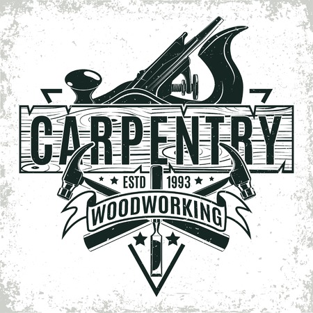Vintage woodworking logo design,  grange print stamp, creative carpentry typography emblem, Vector Banco de Imagens - 72243739