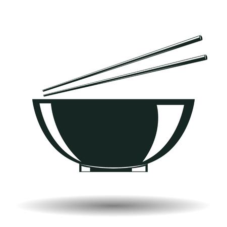 Monochrome japanese bowl sign, element for vintage logo or emblem design isolated on white background, vector