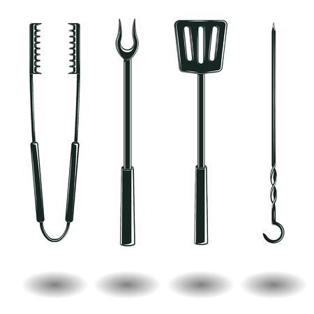Set Monochrome BBQ-apparatuur borden