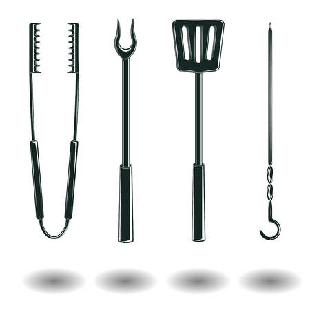 stainless steel: Set of Monochrome BBQ equipments signs