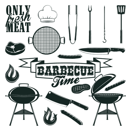 monochrome barbecue icons set Illustration