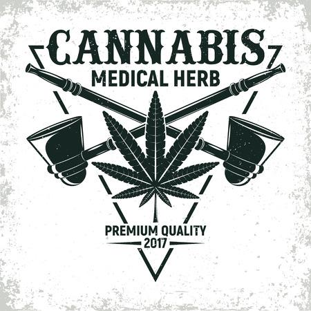 weeds: Vintage medical cannabis logo design,  grange print stamp, creative marijuana typography emblem, Vector