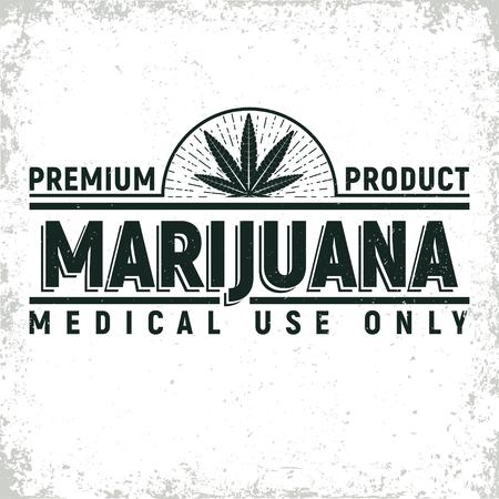 빈티지 의료 대마초 로고 디자인, 그레인 인쇄 스탬프, 창조적 인 마리화나 타이포그래피 엠블럼, 벡터
