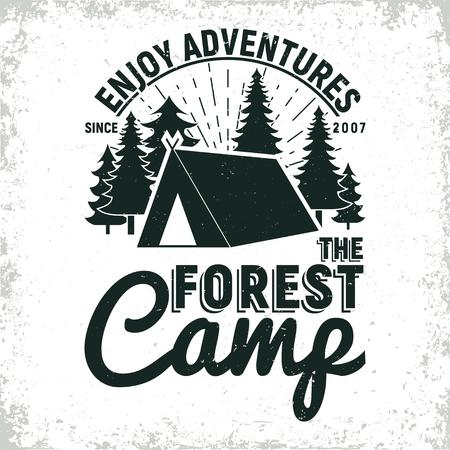 Vintage camping or tourism logo design,  grange print stamp, creative typography emblem, Vector
