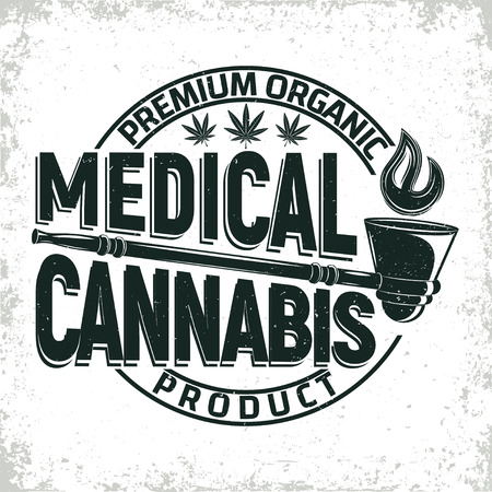Vintage medical cannabis logo design,  grange print stamp, creative marijuana typography emblem, Vector