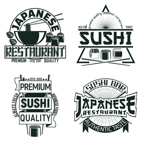 Vintage sushi bar logo design,  grange print stamp, creative Japanese food typography emblem, Vector