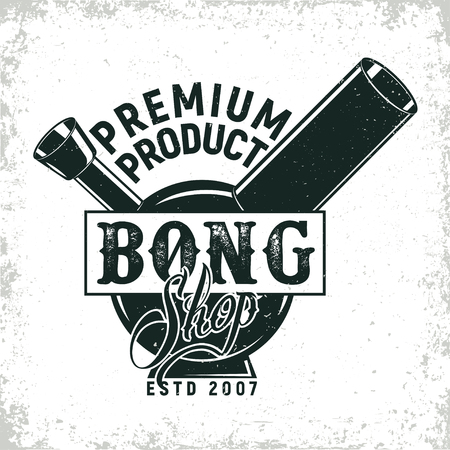 Vintage medical cannabis logo design,  grange print stamp, creative marijuana typography emblem, Vector Фото со стока - 78687714