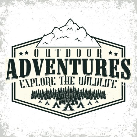 Vintage camping or tourism logo design,  grange print stamp, creative typography emblem, Vector.