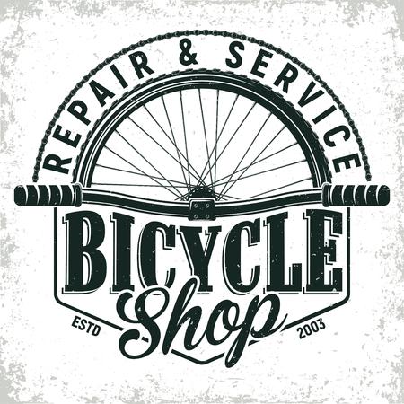 Vintage bicycles repair shop logo design,  grange print stamp, creative typography emblem, Vector.