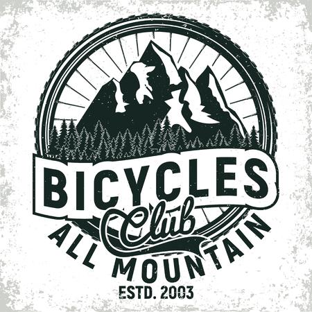 빈티지 자전거 클럽 로고 디자인, 모든 산악 자전거 타는 사람 인쇄 스탬프, 독창적 인 타이포그래피 엠블럼, 벡터