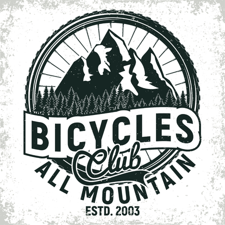 Vintage bicycles club logo design, all-mountain bikers grange print stamp, creative typography emblem, Vector