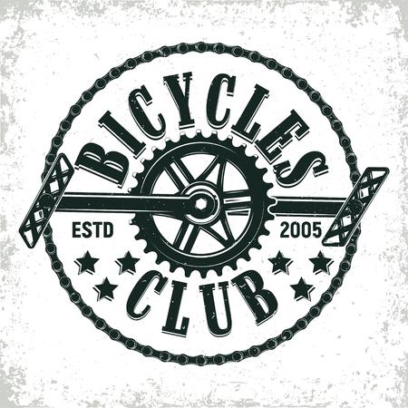 ビンテージ自転車クラブのロゴデザイン、グランジ印刷スタンプ、クリエイティブなタイポグラフィの紋章は、ベクトルです。