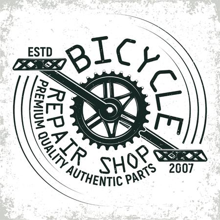 Diseño de logotipo de tienda de reparación de bicicletas de la vendimia, sello de impresión granero, emblema de la tipografía creativa, Vector. Foto de archivo - 80103292