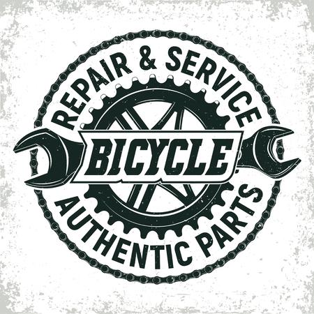 Vintage fietsen reparatie winkel logo ontwerp, grange afdrukken stempel, creatieve typografie embleem, Vector. Stockfoto - 80103297