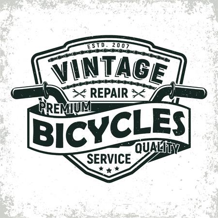 ヴィンテージ自転車ショップのロゴデザイン、グランジ印刷スタンプ、クリエイティブなタイポグラフィの紋章は、ベクトルを修復します。  イラスト・ベクター素材