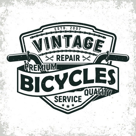 Vintage bicycles repair shop logo design,  grange print stamp, creative typography emblem, Vector.