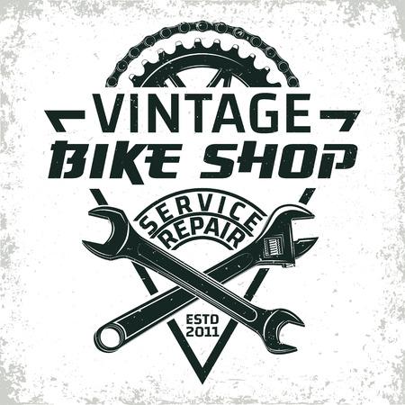 Vintage fietsen reparatie winkel logo ontwerp, grange afdrukken stempel, creatieve typografie embleem, Vector. Stock Illustratie