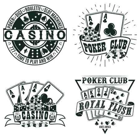 Set of Vintage casino logo designs, grange print stamps, creative poker typography emblems, Vector