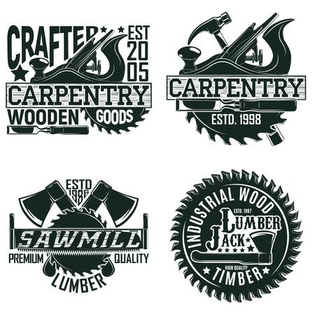 Set di disegni di legno vintage di legno, francobolli di stampe, emblemi di tipografia di carpenteria creativa, vettore