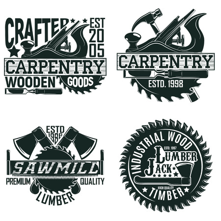 Set of Vintage woodworking logo designs,  grange print stamps, creative carpentry typography emblems, Vector Ilustracja