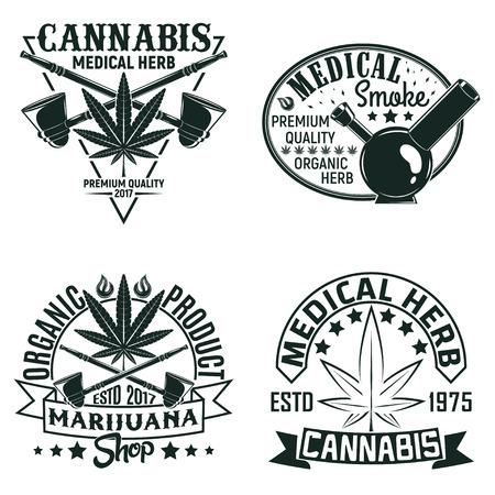 Set of Vintage medical cannabis logo designs,  grange print stamps, creative marijuana typography emblems, Vector Иллюстрация