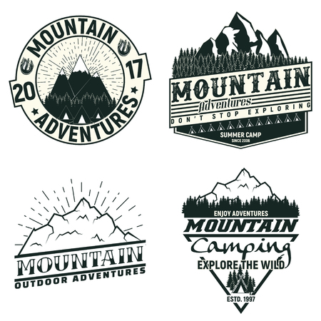 Set of Vintage camping or tourism logo designs,  grange print stamps, creative typography emblems, Vector Фото со стока - 82681584