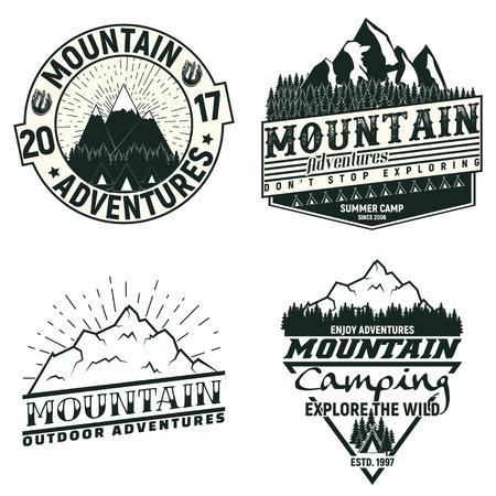 Set of Vintage camping or tourism logo designs,  grange print stamps, creative typography emblems, Vector Иллюстрация
