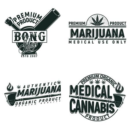ヴィンテージ医療大麻ロゴ デザイン、グランジ印刷スタンプ、創造的なマリファナ タイポグラフィ エンブレム、ベクトルのセット